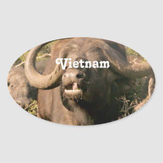 Buffalo d'eau au Vietnam Sticker Ovale