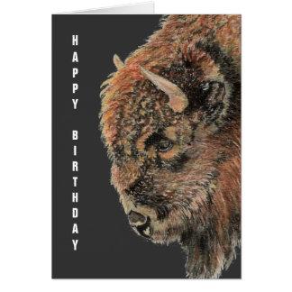 Buffalo général d'anniversaire, bison, animal carte de vœux