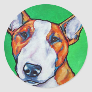 Bull-terrier anglais rouge/blanc autocollant rond