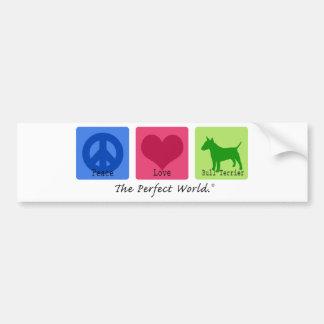 Bull-terrier d'amour de paix autocollant de voiture