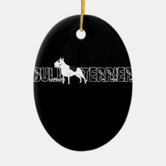Bull-terrier Ornement Ovale En Céramique