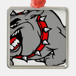 bulldog2 ornement carré argenté