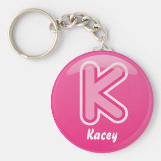 Bulle rose de la lettre K de porte - clé Porte-clé Rond