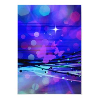 Bulles abstraites colorées de papillons de rayons carton d'invitation  12,7 cm x 17,78 cm