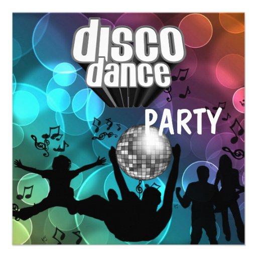 Bulles bleues de danse de disco de partie rétros invitations personnalisées
