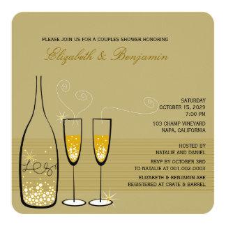Bulles de Champagne d'or épousant la douche de Carton D'invitation 13,33 Cm