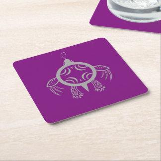 Bulles de tortue de mer dessous-de-verre carré en papier