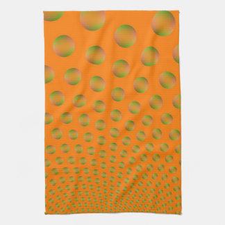 Bulles en serviette de cuisine orange et verte