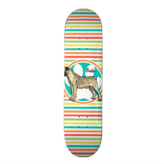 Bullmastiff Rayures lumineuses d arc-en-ciel Skateboards Personnalisables