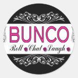 Bunco, petit pain, conversation, rire dans le sticker rond
