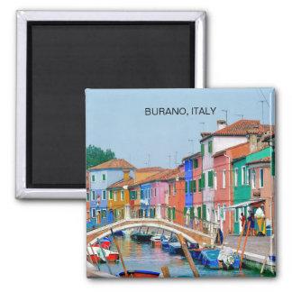 BURANO VENISE, ITALIE (AIMANT) MAGNET CARRÉ