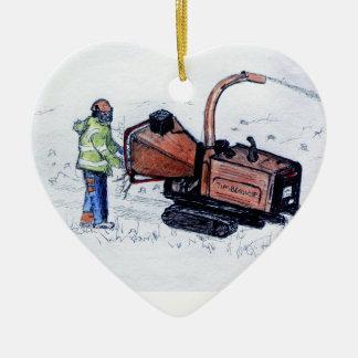Burineur en bois de Timberwolf Ornement Cœur En Céramique