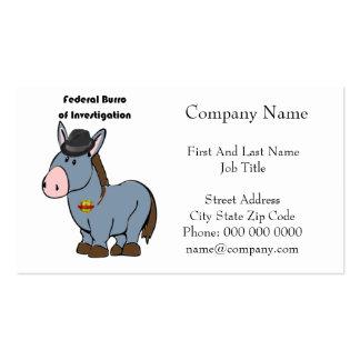 Burro fédéral de FBI de bande dessinée d'âne Carte De Visite Standard