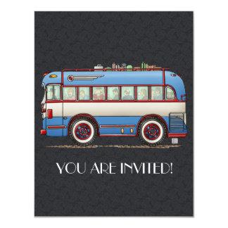 Bus touristique mignon d'autobus carton d'invitation 10,79 cm x 13,97 cm