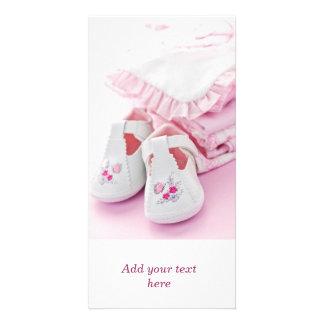 Butins roses et vêtements de bébé photocarte personnalisée