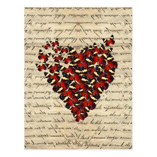 Butterfies vintages romantiques carte postale