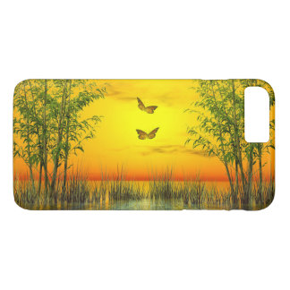 Butterlflies par coucher du soleil - 3D rendent Coque iPhone 7 Plus