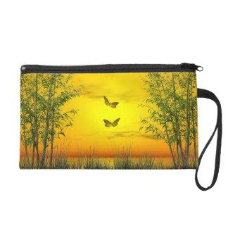 Butterlflies par coucher du soleil - 3D rendent Sacs À Main Avec Dragonne