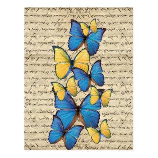 Butterrflies bleus et jaunes carte postale