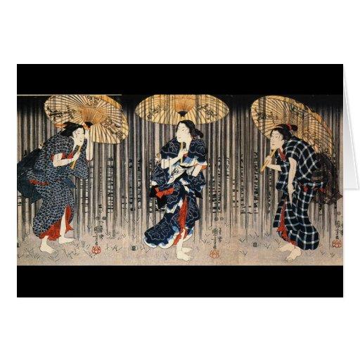 C. de peinture japonais 1800's carte de vœux