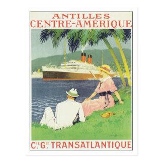 C.G. Transatlantique Antilles vintages Carte Postale