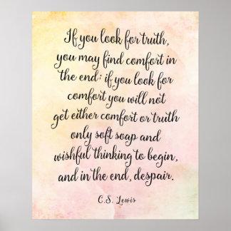 C.S. Copie d'art de citation de vérité de Lewis Poster