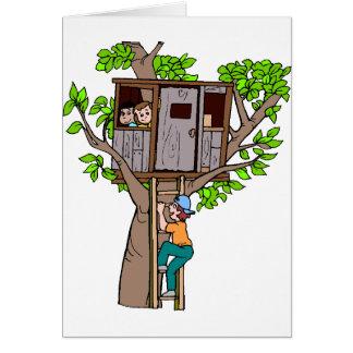 Cabane dans un arbre carte de vœux