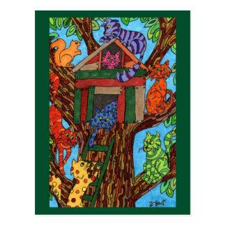 Cabane dans un arbre de chat carte postale