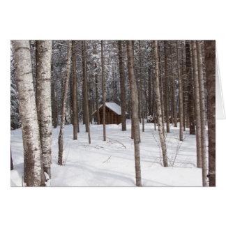 Cabine dans le carte pour notes d'hiver