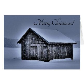 Cabine de carte de Joyeux Noël dans la neige