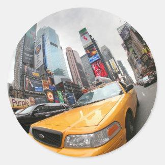 Cabine jaune de New York City Sticker Rond