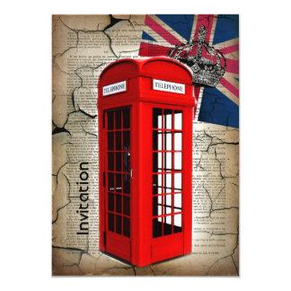 cabine téléphonique rouge de couronne de jubilé de carton d'invitation  12,7 cm x 17,78 cm