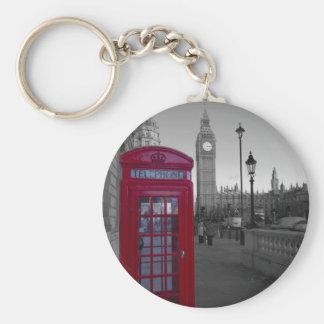 Cabine téléphonique rouge de Londres Porte-clé Rond