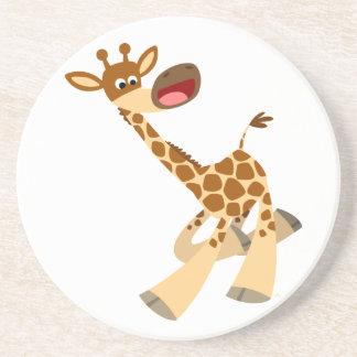 Caboteur chevauchant de girafe de bande dessinée m dessous de verres