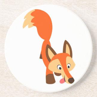 Caboteur curieux mignon de Fox de bande dessinée Dessous De Verres
