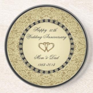 Caboteur d'anniversaire de mariage d'or dessous de verre