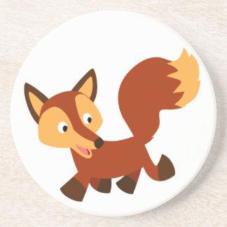 Caboteur heureux mignon de Fox de bande dessinée Dessous De Verres