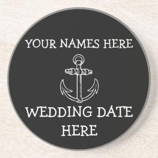 Caboteur personnalisable de mariage d'ancre dessous de verres