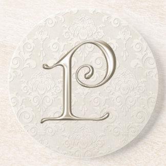 Caboteurs de damassé de monogramme - lettre P Dessous De Verres