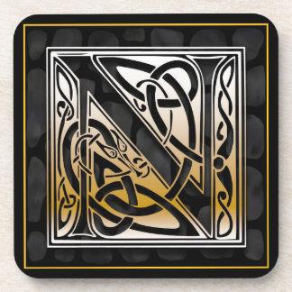 Caboteurs en pierre noirs celtiques de monogramme  dessous-de-verre