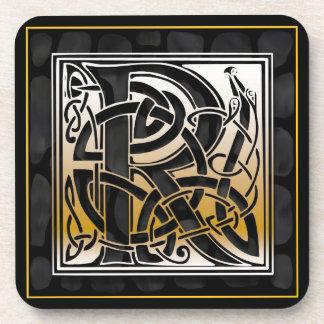 Caboteurs en pierre noirs celtiques de monogramme  sous-bock