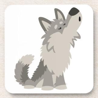 Caboteurs hurlants mignons de loup de bande dessin dessous-de-verre