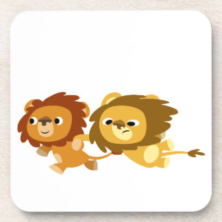 Caboteurs mignons de lions de bande dessinée press dessous-de-verre