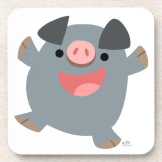 Caboteurs pleins d'entrain de porc de bande dessin dessous-de-verre