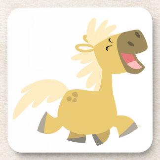 Caboteurs riants mignons de poney de bande dessiné dessous-de-verre