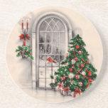 Caboteurs vintages de fenêtre de Noël Dessous De Verres