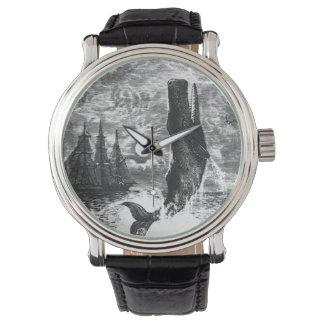 Cachalot vintage ouvrant une brèche, animaux montres