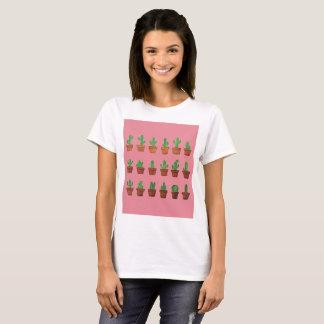 Cactus adorable sur le T-shirt rose d'arrière -