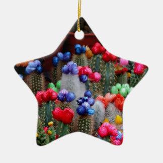Cactus colorés ornement étoile en céramique