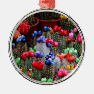 Cactus colorés ornement rond argenté